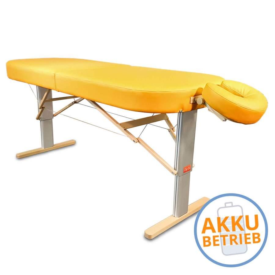 Mobile Lomi-Massageliege mit Akku: LINEA Hawaii - Bezugsfarbe: PU-sol (gelb) (Kopfstütze NICHT im Lieferumfang enthalten!)