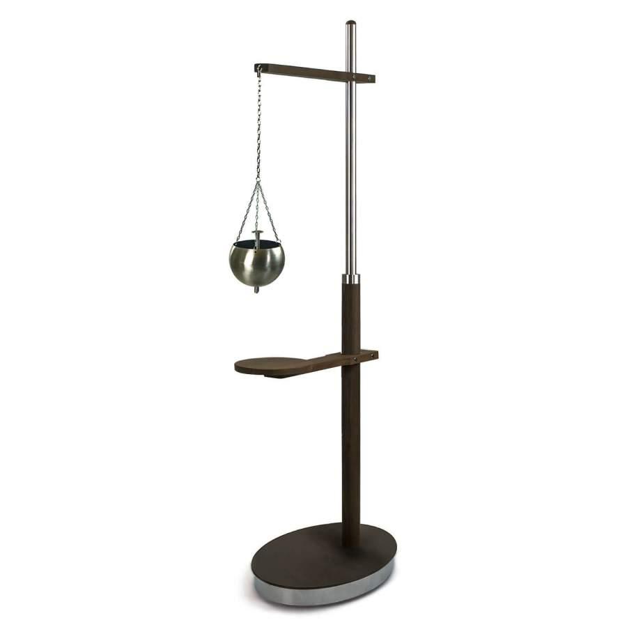 Shirodhara-Ständer AMBRA: Zeitloses Design aus Holz und Edelstahl. Stirnguss-Schale KERALA NICHT im Lieferumfang enthalten